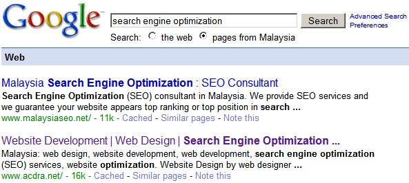 google search engine ranking